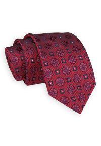 Czerwono-Granatowy Elegancki Krawat -Angelo di Monti- 7 cm, Męski, Wzór Geometryczny. Kolor: niebieski, czerwony, wielokolorowy. Wzór: geometria. Styl: elegancki