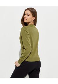 Kenzo - KENZO - Zielona bluza z logo. Kolor: zielony. Materiał: bawełna. Długość rękawa: długi rękaw. Długość: długie. Wzór: kolorowy