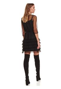 TOP SECRET - Tiulowa sukienka z falbaną i gumą w pasie. Okazja: na imprezę. Kolor: czarny. Materiał: tiul, guma. Wzór: aplikacja. Sezon: zima #4