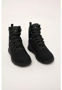 Czarne buty trekkingowe Timberland z cholewką, na sznurówki, z okrągłym noskiem