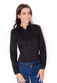 Czarna bluzka Katrus z długim rękawem, elegancka, długa