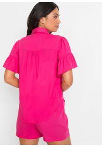 """Bluzka z rękawami z falbanami bonprix różowy """"pinklady"""". Kolor: różowy. Styl: elegancki"""