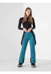 4f - Spodnie narciarskie membrana 8000 damskie. Kolor: turkusowy. Materiał: poliester. Sezon: zima. Sport: narciarstwo