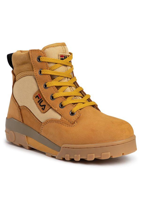 Brązowe buty trekkingowe Fila z cholewką