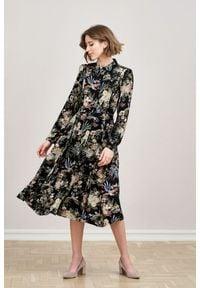 Marie Zélie - Sukienka Colette Phoenix czarna 32 czarny. Kolor: czarny. Materiał: skóra, wiskoza, materiał. Długość rękawa: długi rękaw. Wzór: gładki. Typ sukienki: szmizjerki. Styl: elegancki. Długość: midi