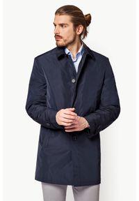Lancerto - Płaszcz Granatowy Avoliano. Okazja: do pracy. Kolor: niebieski. Materiał: poliester, jeans, materiał. Sezon: wiosna. Styl: klasyczny