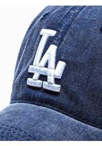 Ombre Clothing - Czapka męska z daszkiem H089 - granatowa - uniwersalny. Kolor: niebieski. Materiał: bawełna