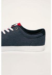 Niebieskie sneakersy TOMMY HILFIGER z okrągłym noskiem, z cholewką, na sznurówki