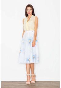 Niebieska spódnica rozkloszowana Figl w kolorowe wzory