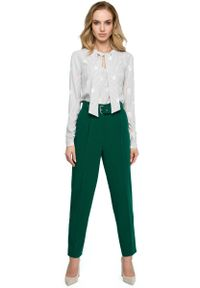 Zielone spodnie z wysokim stanem MOE klasyczne, z podwyższonym stanem