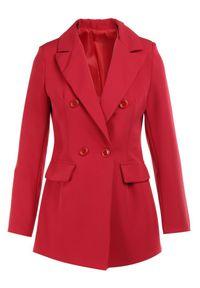 Born2be - Czerwona Marynarka Ianthathe. Kolor: czerwony. Materiał: jeans, materiał #5