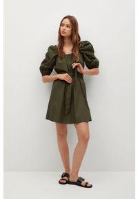 Sukienka mango rozkloszowana, z krótkim rękawem, gładkie