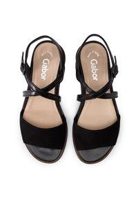 Czarne sandały Gabor casualowe, na co dzień, na średnim obcasie, na obcasie