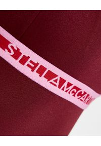 Stella McCartney - STELLA MCCARTNEY - Bordowy strój kąpielowy Logo Tape. Kolor: czerwony. Materiał: tkanina. Wzór: paski
