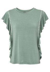 Shirt z ćwiekami bonprix dymny zielony. Kolor: zielony. Wzór: aplikacja