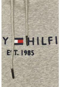 Szara bluza TOMMY HILFIGER z kapturem, z aplikacjami