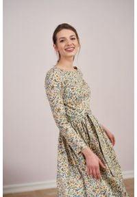 Marie Zélie - Sukienka Melia Figuena. Typ kołnierza: kokarda. Materiał: bawełna, elastan, skóra, materiał. Długość rękawa: długi rękaw. Styl: klasyczny
