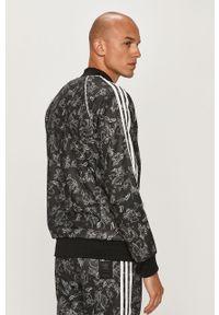 Czarna bluza rozpinana adidas Originals z motywem z bajki, casualowa, bez kaptura, na co dzień
