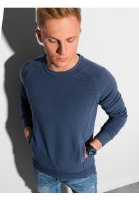 Ombre Clothing - Bluza męska bez kaptura B1156 - ciemnoniebieska - XXL. Typ kołnierza: bez kaptura. Kolor: niebieski. Materiał: dresówka, dzianina, poliester, jeans, bawełna