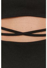 only - Only - Sukienka. Kolor: czarny. Materiał: dzianina, bawełna. Długość rękawa: krótki rękaw. Wzór: gładki. Typ sukienki: dopasowane