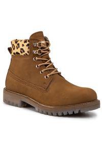 Brązowe buty trekkingowe MEXX z cholewką