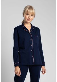 MOE - Bawełniana Koszula od Piżamy z Wypustkami - Granatowa. Kolor: niebieski. Materiał: bawełna