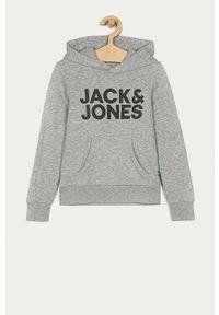 Szara bluza Jack & Jones z kapturem, na co dzień, casualowa