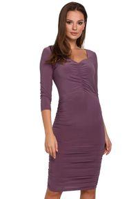 Makover - Zjawiskowa mocno dopasowana sukienka z marszczeniami. Okazja: na imprezę, na randkę. Typ sukienki: ołówkowe. Styl: wizytowy. Długość: midi