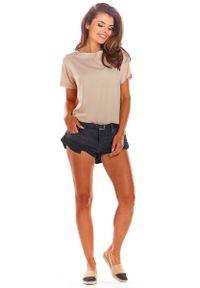 Awama - Beżowa Oversizowa Bluzka Wiązana na Plecach. Kolor: beżowy. Materiał: wiskoza, elastan
