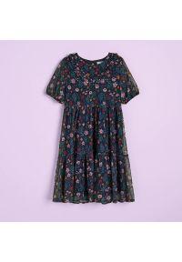 Reserved - Sukienka z lekkiej dzianiny - Granatowy. Kolor: niebieski. Materiał: dzianina