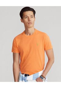 Ralph Lauren - RALPH LAUREN - Pomarańczowy t-shirt Custom Fit. Okazja: na co dzień. Typ kołnierza: polo. Kolor: pomarańczowy. Materiał: bawełna. Wzór: haft. Styl: casual, sportowy