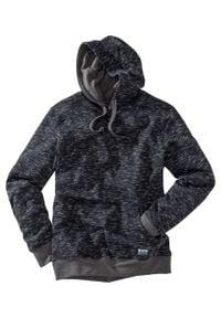 Bluza z kapturem bonprix czarny melanż. Typ kołnierza: kaptur. Kolor: czarny. Wzór: melanż. Styl: sportowy