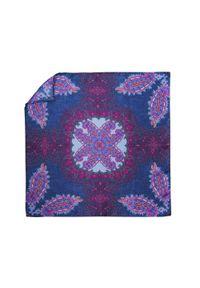 Adam Collection - Niebiesko-fioletowa jedwabna poszetka - orientalny wzór EJ18. Kolor: niebieski, wielokolorowy, fioletowy. Materiał: jedwab