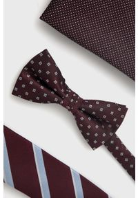 Jack & Jones - Zestaw krawat, mucha i poszetka. Kolor: fioletowy. Materiał: materiał, poliester
