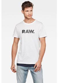 Biały t-shirt G-Star RAW na co dzień, z okrągłym kołnierzem