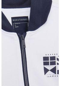 Biała bluza rozpinana Mayoral z nadrukiem, z kapturem