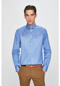Niebieska koszula Selected z klasycznym kołnierzykiem, na co dzień, długa, gładkie