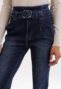 Niebieskie jeansy Born2be z podwyższonym stanem #5