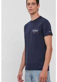 Tommy Jeans - T-shirt bawełniany. Kolor: niebieski. Materiał: bawełna. Wzór: nadruk