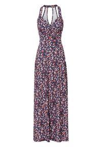 Długa sukienka z nadrukiem bonprix ciemnoniebieski leo z nadrukiem. Typ kołnierza: dekolt halter. Kolor: niebieski. Wzór: nadruk. Długość: maxi