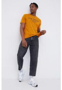 Tom Tailor - T-shirt bawełniany. Okazja: na co dzień. Kolor: żółty. Materiał: bawełna. Wzór: nadruk. Styl: casual
