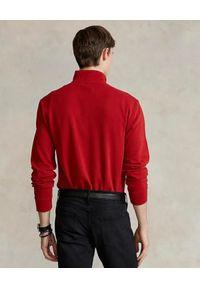 Ralph Lauren - RALPH LAUREN - Czerwona bluza z suwakiem i logo. Typ kołnierza: polo. Kolor: czerwony. Materiał: bawełna. Długość rękawa: długi rękaw. Długość: długie. Styl: klasyczny