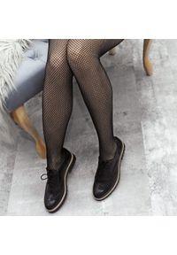 Czarne półbuty Zapato w kolorowe wzory, z okrągłym noskiem, na sznurówki