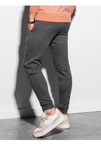 Ombre Clothing - Spodnie męskie dresowe joggery P987 - grafitowe - XXL. Kolor: szary. Materiał: dresówka