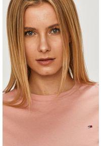 Różowa bluzka TOMMY HILFIGER gładkie, casualowa, na co dzień
