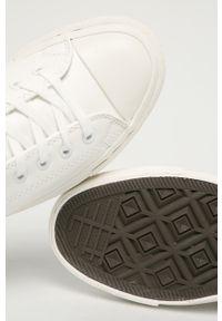 Białe tenisówki Guess Jeans na sznurówki, z cholewką, z okrągłym noskiem