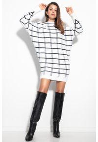 e-margeritka - Sukienka swetrowa ciepła w kratę ecru - s/m. Materiał: nylon, wiskoza, materiał, elastan, poliamid. Typ sukienki: oversize