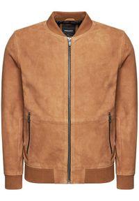 Jack&Jones PREMIUM Kurtka skórzana Blacramer 12192854 Brązowy Regular Fit. Kolor: brązowy. Materiał: skóra