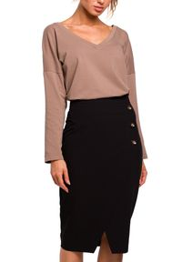 MOE - Elegancka ołówkowa spódnica z ozdobnymi guzikami. Materiał: elastan, materiał. Wzór: aplikacja. Styl: elegancki