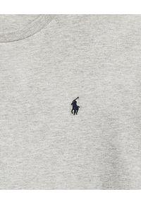 Ralph Lauren - RALPH LAUREN - Szary t-shirt z bawełny. Typ kołnierza: polo. Kolor: szary. Materiał: bawełna. Wzór: haft. Styl: klasyczny, sportowy
